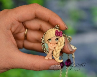 Polymer clay doll necklace, fimo doll, kawaii chibi doll, gift for her, polymer clay charm, chain necklace, polymer clay pendant, chibi doll