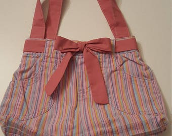 Upcycled Pink Striped Hand Bag