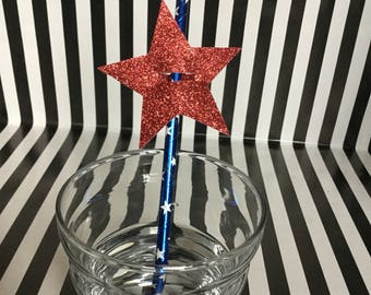 Sale! - USA 4th of July Paper Straw and Glitter Star Topper