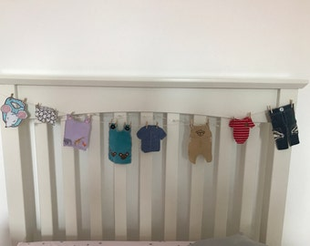 Baby clothes bunting washing line