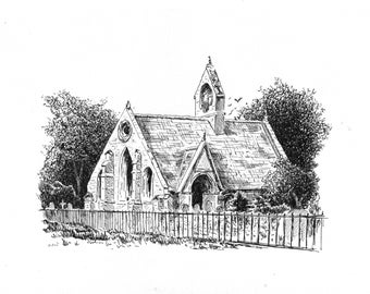 Old church. House portrait. Ink & Pen drawing. Graphic art. A4. Architecture. Black and white