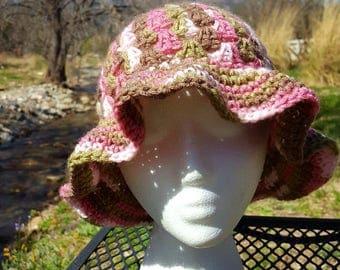 Womans Floppy Brim Hat, Teen Floppy Brim Hat, Pink Camo Floppy Brim Hat, Springtime Floppy Brim Hat, Spring Sun Hat
