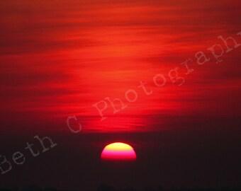 Striking Red Sunset Digital Download
