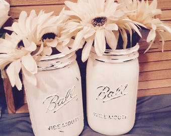 Wide Mouth Mason Jars. Set of Two.