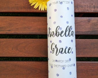 Christening candle, baptism candle, Naming Day Candle, Spots, Church candle, girl's christening, girl's baptism, purple candle (Isabella)