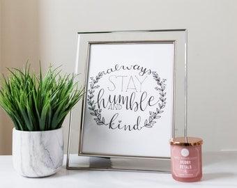 Humble & Kind Calligraphy Print