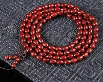 Red sandalwood Bracelet, 108 Drop-shaped beads, Wood Jewelry Buddhist jewelry,Spirituality Bracelet, Religion