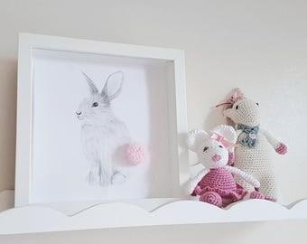 Framed Baby Gift Nursery Bunny Pom Pom Print