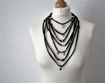 Black Fabric Yarn Necklace with Silver Plated Charms