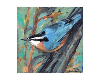 Red-breasted nuthatch, limited-edition art print