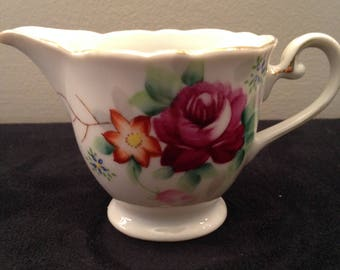 """Timont China """"Occupied Japan"""" Hand painted red and orange flowered creamer 1940's"""
