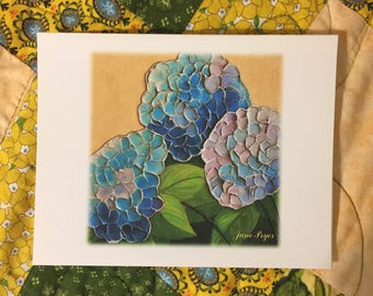 hydrangea note cards, hydrangea blank note cards, original note cards, thank you cards, greeting cards, blank note cards, flower note cards
