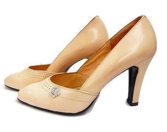 Vintage Cream Shoes Cream Leather Shoes Wedding Heels Vintage Bridal Shoes Vintage Beige Shoes Beige Leather Shoes Beige Leather Heels
