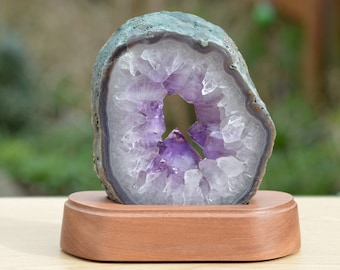 Gorgeous Amethyst Geode Cathedral Slice Keyhole Ring Brazil Reiki Meditation Energy (no1)