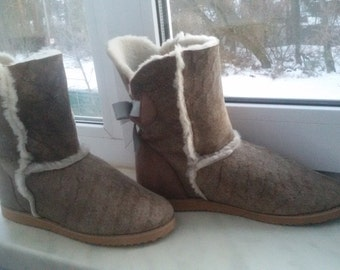 Women boots from sheepskin
