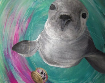 Original acrylic painting painting on paper 30 x 40 seal