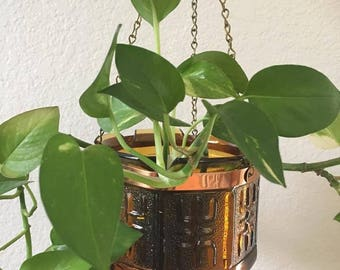 Vintage Mid Century Amber Glass Hanging Planter with Copper Band