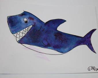 Watercolor original cute shark