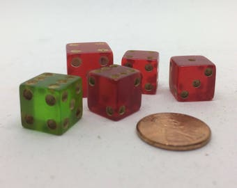 Five Red and Green Bakelite, Lucite, Celluloid Dice, One Trick Dice Rolls 2s or 6 Only