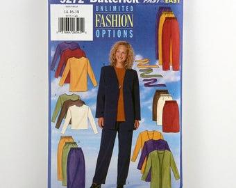 Vintage Butterick Pattern 5272, Misses' Wardrobe, Jacket, Belt, Top, Skirt and Pants, Uncut, Sizes 14, 16, 18, Fast & Easy Sewing Pattern