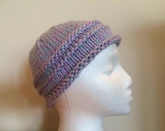Women's Horizontal-Ribbed Pastel Purple-Blue Hat