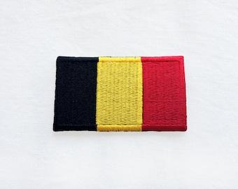 1x Belgian flag patch -  BELGIUM kingdom emblem Iron On Embroidered Applique logo black yellow red badge