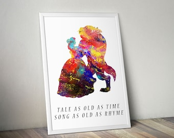 Disney Princess Belle Beauty and the Beast Watercolor Quote, Poster Print, Watercolor Painting, Watercolor Art Kids Decor Nursery Decor