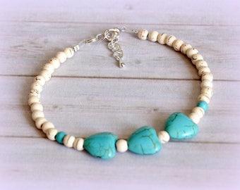 Minimalist white howlite bracelet turquoise hearts sterling silver Tibetan silver chic gift gems fine elegant