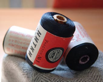 Vintage spools of thread from USSR. 3 Black Spools.