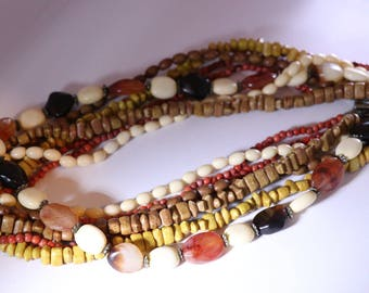 Faux Amber Beaded Necklace