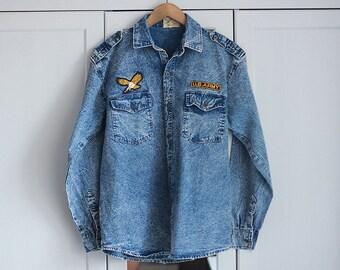 Vintage Shirt Jeans Denim US ARMY Acid Wash Light blue Gold Retro Military Oversize Unisex Men Women Top / Large size