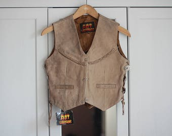 Genuine Leather Vest Short Vintage Boho Look Cowboy Western Style Beige and Gray Straps Braids Top Sleeveless Chic Rustic / Extra small size