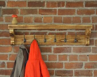 Solid, chunky coat rack and shelf with cast iron hooks and charred wood finish (Shou Sugi Ban)