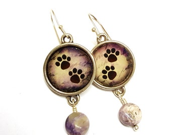 Dog paw print earrings with gemstones and silver plated hooks