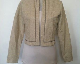Vintage Womens Cream Beige Pique Smart Casual Bolero Blazer Jacket / Size 12