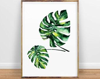 Monstera Leaf Print, Palm Modern Minimal Botanical Wall Art, Large Printable Poster, Digital Download, Tropical Decor, Green Plant Leaves
