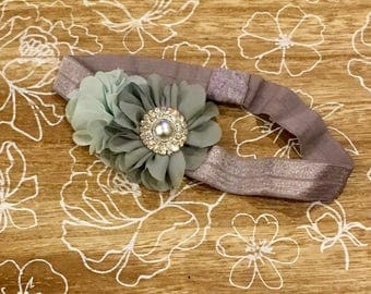 Aqua Flower headband, baby headband, toddler headband, silver flower, grey flower, mint flower, aqua flower, dressy headband, dressy