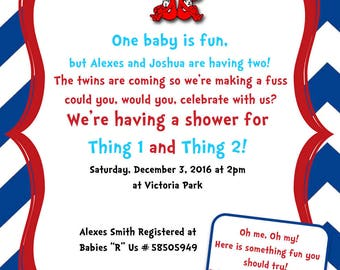 Thing 1 & Thing 2 Baby Shower Invitation