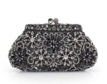 Glamorous black evening clutch bag with high Quallity Crystals