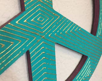 Painted Wooden Peace Sign Wall Hanging