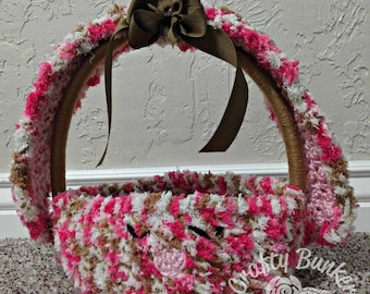 Pink and Brown Cottontail Bunny Easter Basket