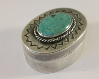 Vintage Native American, Navajo, Sterling Silver & Turquoise Oval Medicine/Pill Box FREE DOMESTIC SHIPPING