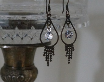 Recycled Upcycled Black Dangle Swarovski Crystal Earrings