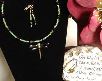 Green Black and Gold Beaded Necklace Set with Dragon Fly Charm