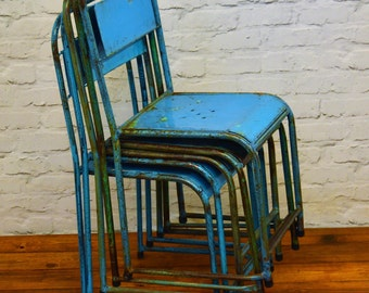 1 available blue industrial metal stacking chairs vintage garden kitchen school seating interior design wedding restaurant cafe