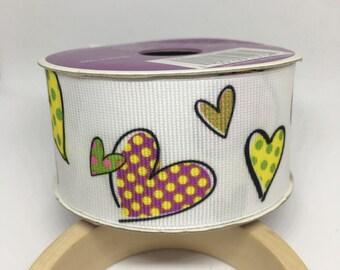 White Ribbon Polka Dot Hearts / Polyester Ribbon / Fabric Ribbon / Sewing Ribbon / Scrapbooking / Card Making