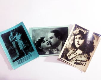 Collection postcard Soviet vintage postcards picture Love Set of postcards Vintage paper 1955
