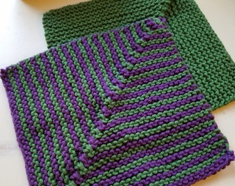 Knitted cotton washcloths/dishcloths, set of two, one striped & one solid, green/purple