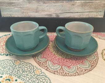 Coffee set, ceramic set, blue coffee cups, housewarming gift, southern chic