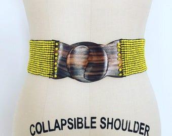 1970's yellow glass beaded cinch belt